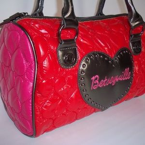 Betseyville Red/Pink/Bronze Quilted Purse Tote